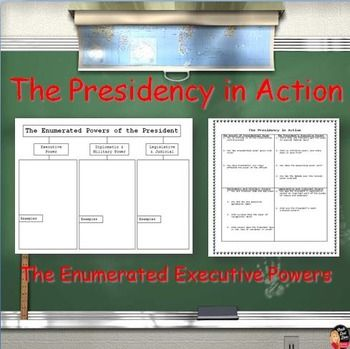 The Presidency in Action: The Enumerated Executive Powers (Civics) This engaging lecture and Jig-Saw Activity reviews the powers of the United States President. The topics include: The Growth of Presidential Power, Executive Powers, Diplomatic & Military Powers, Legislative and Judicial Powers.