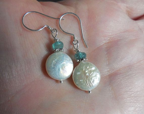 Apatite Coin Pearl  Earrings by VeronicaBCreations on Etsy