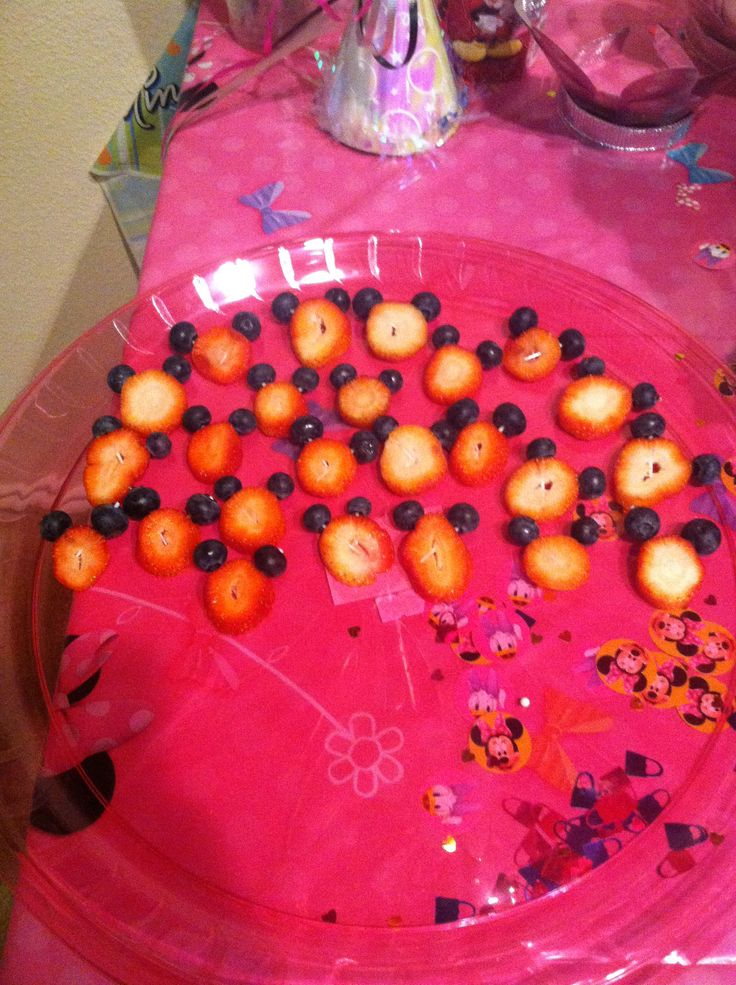 Minnie Mouse Strawberries with blueberries