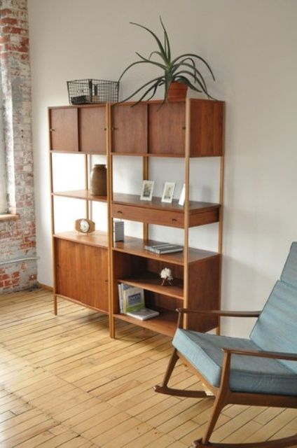 I like the shape of this bookcase.  I might add some color to it.  25 Original Mid-Century Modern Bookcases You'll Like | DigsDigs