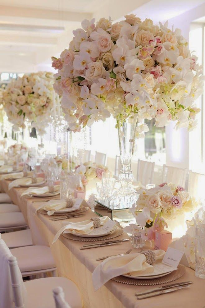 17 best ideas about long table centerpieces on pinterest for Center arrangements for weddings