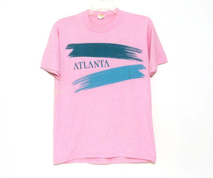 Vintage 80s tshirt Atlanta tourism pink Georgia teal by 216vintageModern on Etsy