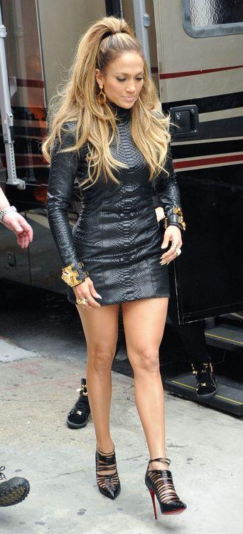 Jennifer Lopez wearing a custom python mini dress by #RandM.