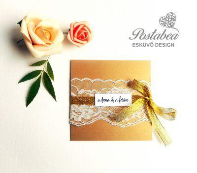 csipkés arany esküvői meghívó