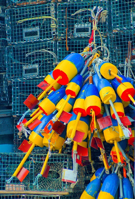 Lobster pots and buoys