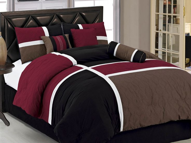 7pcs Burgundy Brown Black Quilted Patchwork Bed In A Bag
