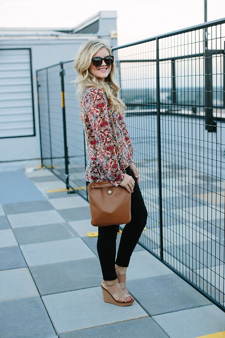 Sheer Floral Top, Black Pants & Tan Accessories, Early fall outfit inspiration by Cristin of The Southern Style Guide