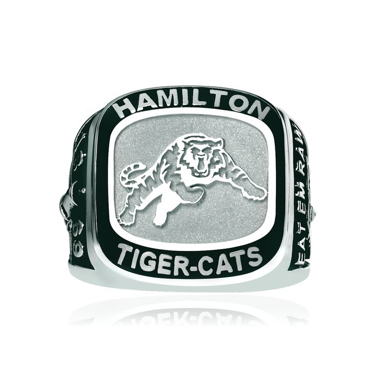 Men's large sterling silver Hamilton Tiger-Cats ring. Available in sizes 9.5, 10.5 or 11.5. Can be ordered in other sizes, inquire to learn more.