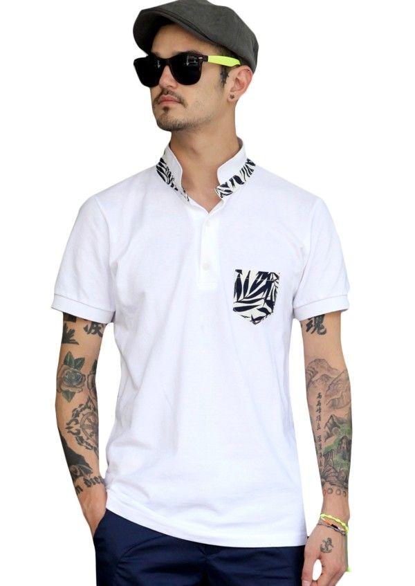 Doublju Mens White Leaf Patterned Polo Shirts #doublju