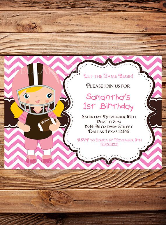 Football Birthday Party Invitation, Girl, Football Birthday Party, Pink, Brown, Chevron Stripes, Printable, Digital -Y122 on Etsy, $21.00