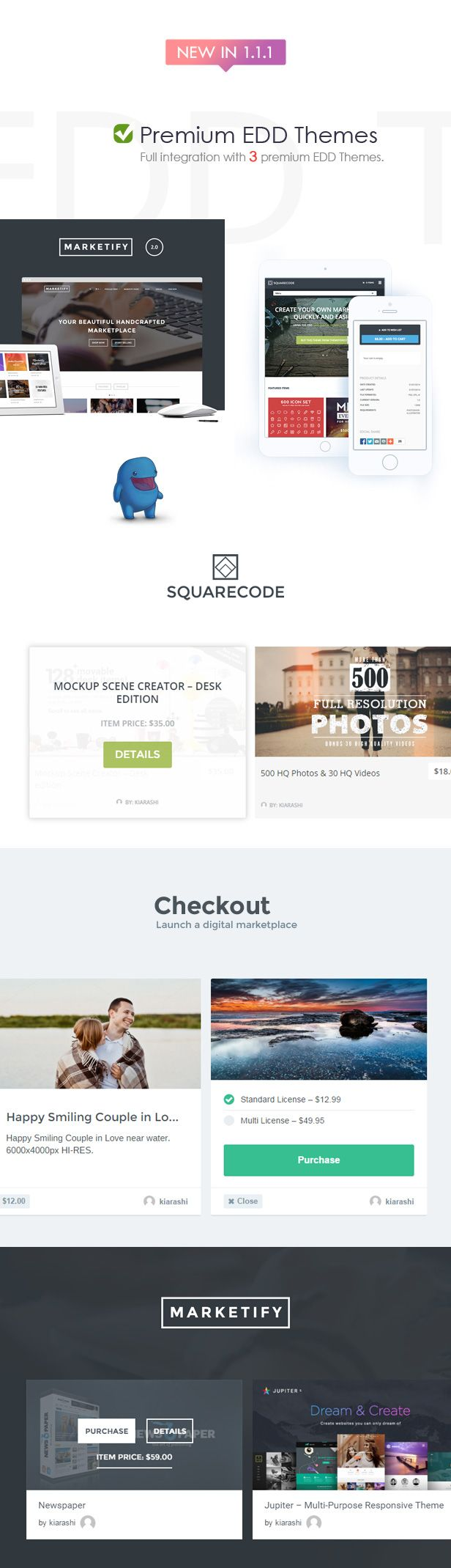 Integration with new EDD themes! #Marketify, #SquareCode, and #Checkout