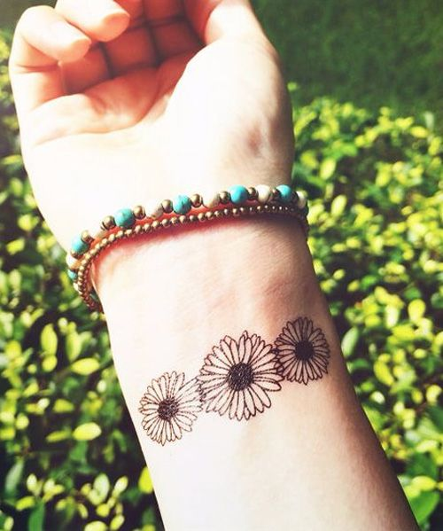 Lovely Daisy Flower Wrist Tattoo Design for Girls