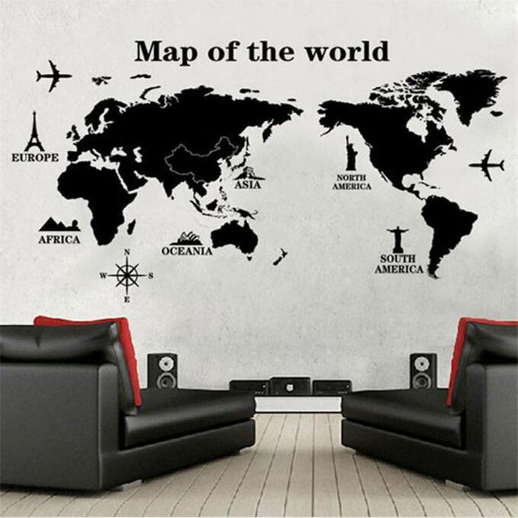 black large world map wall sticker decal 60120cm big vinyl wall stickers home decor
