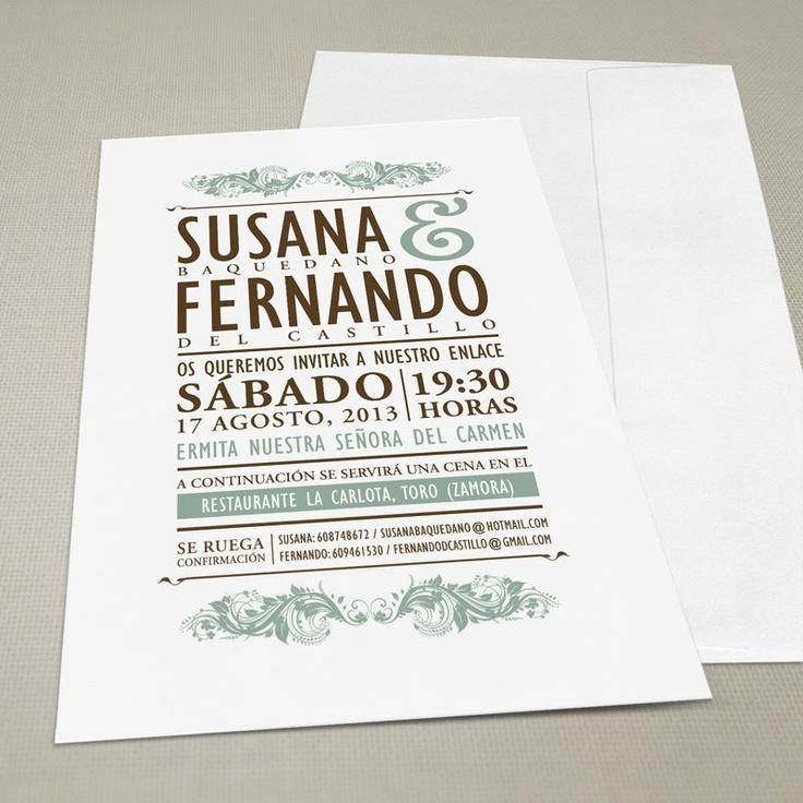 $4.71 Invitación de boda vintage con sobre. Perfecta para dar un toque de estilo retro a tu boda. Combinable con mesero, tarjeta de agradecimiento, minuta... Desde 3,60€