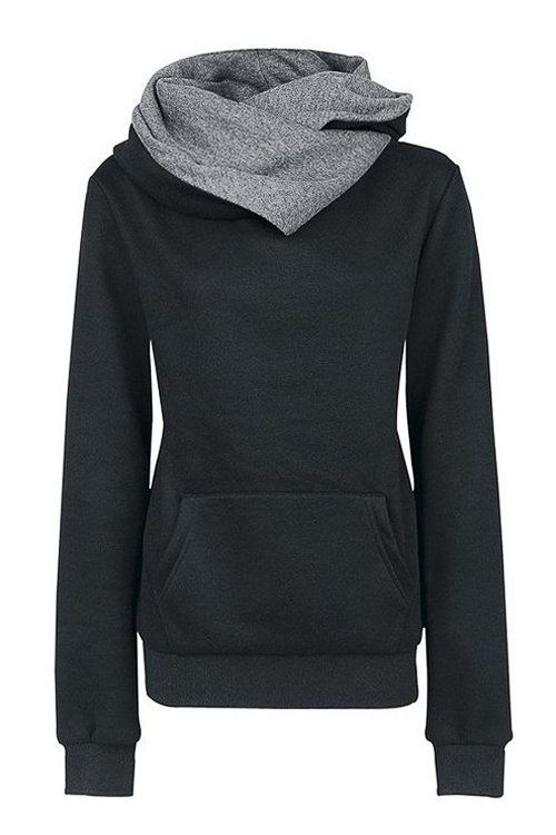 Black Special Hooded Big Pocket Front Sweatshirt -YOINS