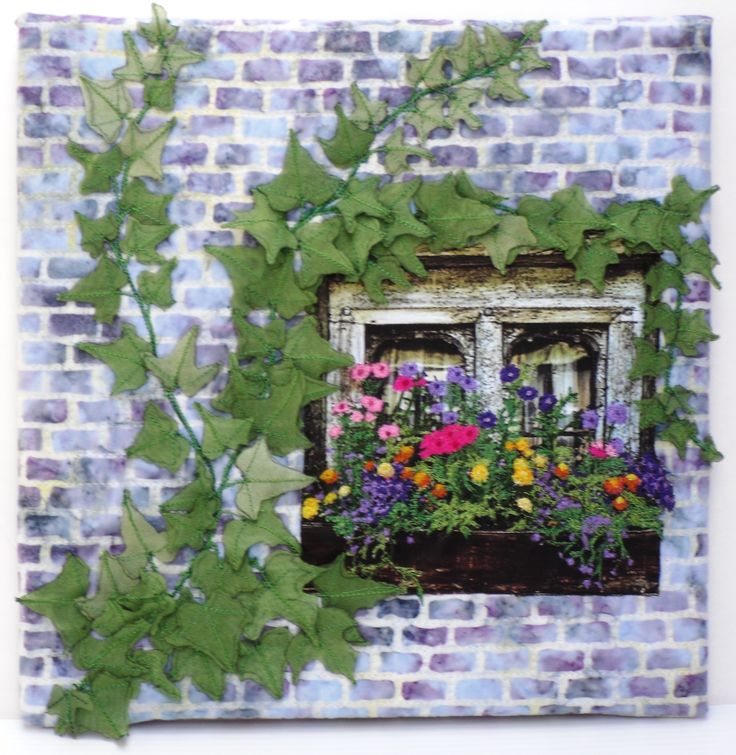 Quilted Picture with 3 D Ivy Vines and Thread Painted Flowers