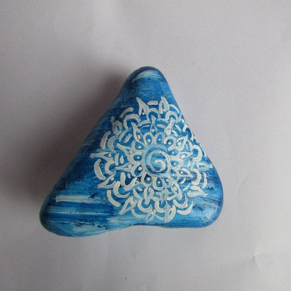 Triangle shaped mandala stone, cerulean blue, Zen stone, meditation stone, lucky stone, good energy stone