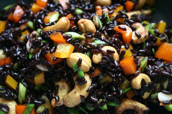 Thai Forbidden Rice Salad -- Use 2 cups cooked black rice to make this cool, easy vegan one-dish dinner for 4.