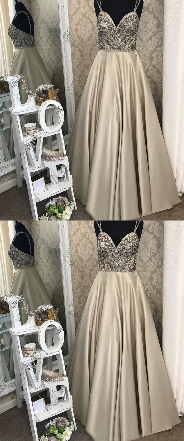 unique champagne beading long prom dresses, modest spaghetti straps backless party dresses, elegant evening gowns with pleats