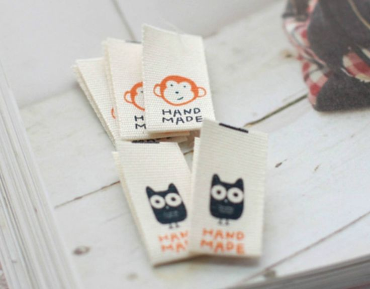 6 x Owl and Monkey Labels / HAND MADE Labels / Sew on craft Labels (La421)