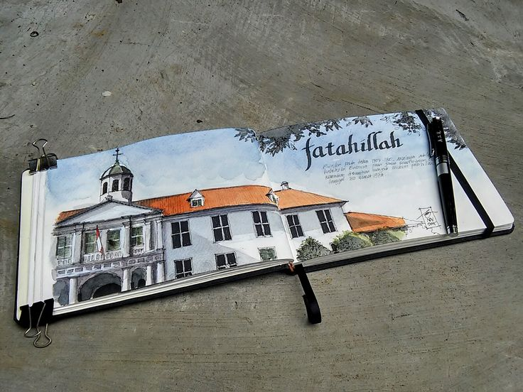 Fatahillah Museum, Jakarta. ink + watercolor on A5