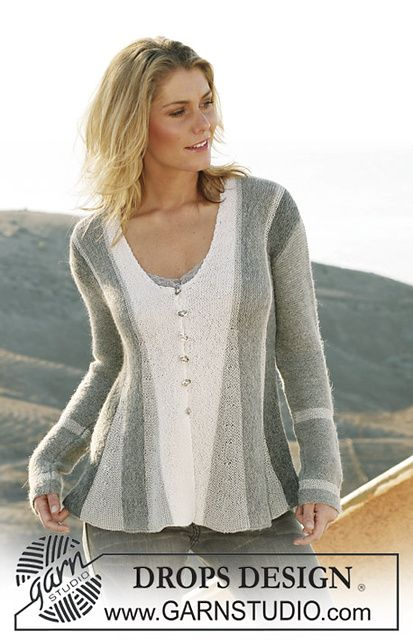 """106-1 pleated jacket, knitted from side to side in garter st in """"Alpaca"""" and """"Cotton Viscose"""" pattern by DROPS design"""