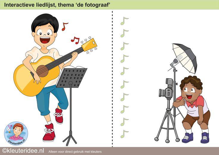 Interactieve liedlijst, thema 'de fotograaf', kleuteridee.nl