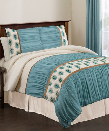 Take a look at this Ivory & Turquoise Aurora California King Comforter Set by Lush Décor on #zulily today!