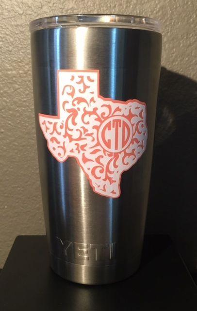 Texas State Paisley Custom Monogram Decal For Yeti Rambler