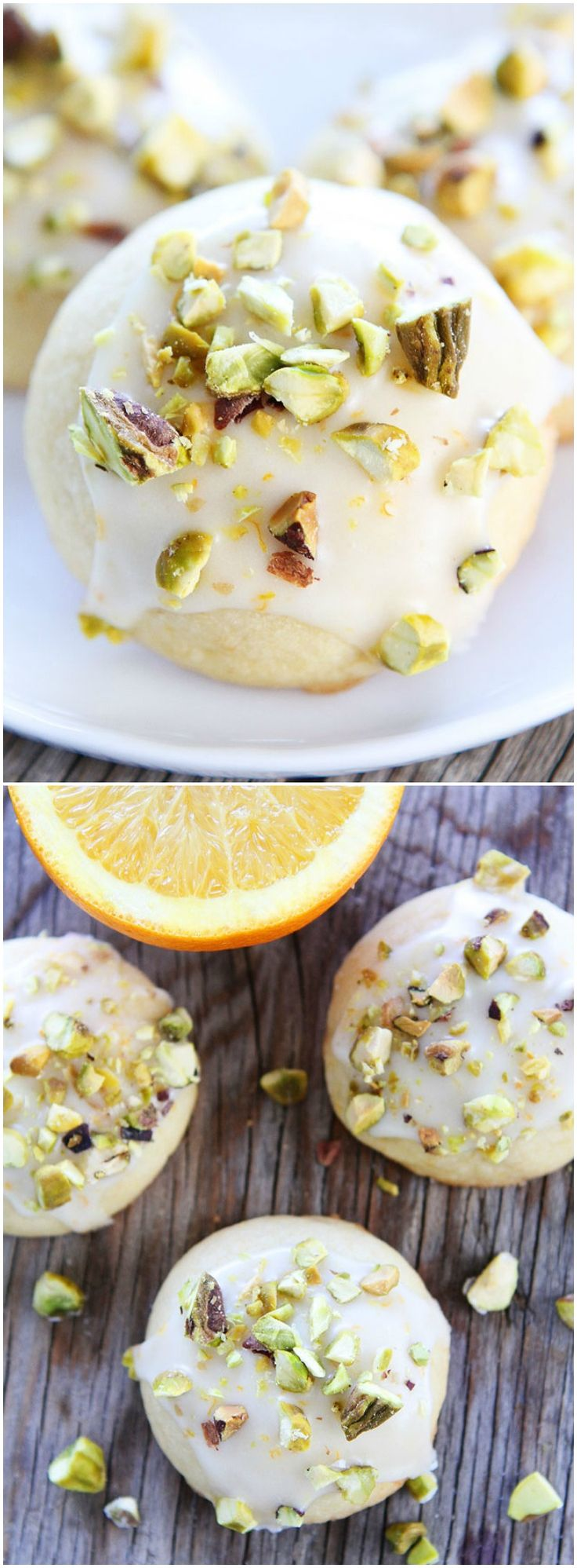 Orange Pistachio Cookie Recipe on twopeasandtheirpod.com Orange butter cookies with a sweet orange glaze and chopped pistachios. We LOVE these cookies!