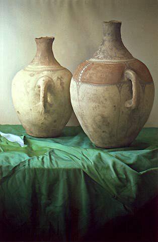 Claudio Bravo, Jarrones arabes, 1991, pastel on paper, 109,1 x 74,9 cm