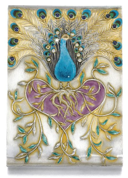 Romanov Heirlooms: The Lost Inheritance of Grand Duchess Maria Pavlovna - An Art Nouveau jewelled parcel-gilt silver and enamel cigarette case, Bolin, Moscow, 1899-1908. In Art Nouveau taste, the lid chased and enamelled with a perching peacock, its feathers set with rose-cut diamonds and cabochon sapphires, above a cluster of entwining branches forming a heart of purple enamel, 88 standard. #Bolin #ArtNouveau #CigaretteCase #Romanov