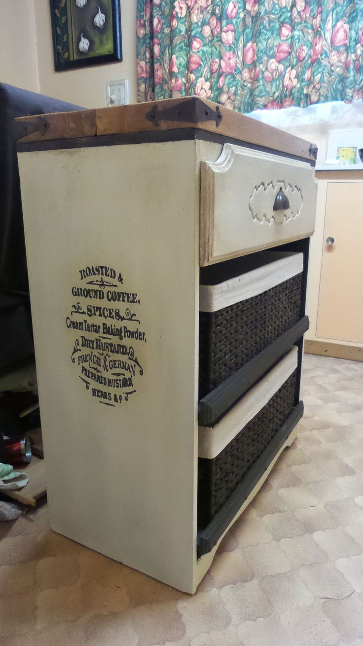 AFTER-Old drawers, converted into kitchen workbench with baskets for veges