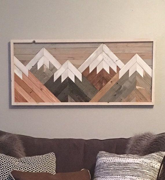 Reclaimed Wood Wall Art Mountain Scene Mantel Art Cabin