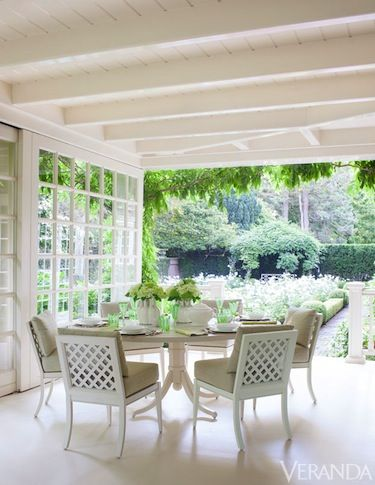 Overlooking the Garden. Table and chairs, McKinnon & Harris; cushions: DeLany & Long fabric. Design: Pheasant.