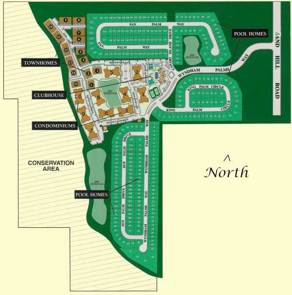 Windsor Palms Site Map. The entrance now weaves from the North of the community at Canary Island Drive. Originally the guardhouse and gate were positioned on the East side of the community.