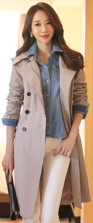 StyleOnme_Zipper Closure Double-Breasted Hooded Trench Coat #beige #spring #chic #elegant #dailylook #koreanfashion #kstyle #kfashion #trench #coat