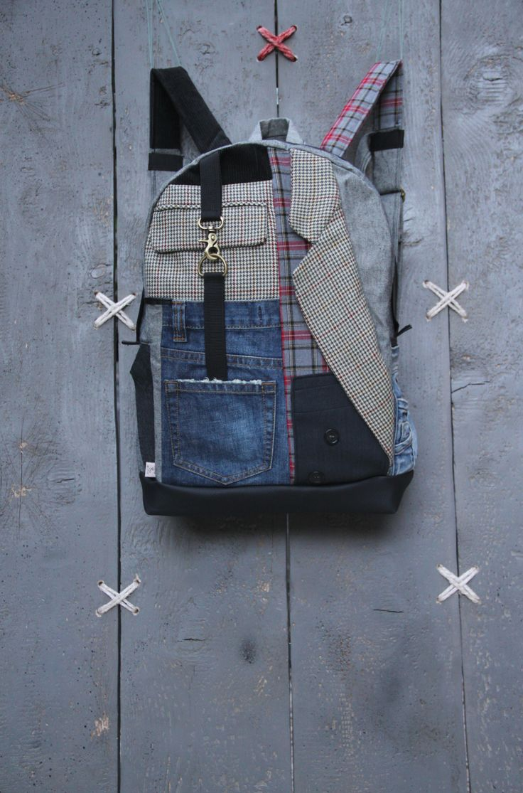 Upcycled rucksack with a mixed patchwork of recycled jeans, mens' suits and curduroy trousers, by EatingTheGoober