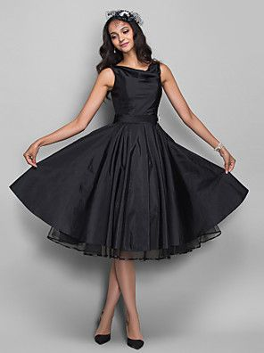 TS+Couture®+Cocktail+Party+/+Homecoming+/+Company+Party+Dress+-+1950s+/+Vintage+Inspired+Plus+Size+/+Petite+A-line+Cowl+Knee-length+Taffeta+–+USD+$+300.00