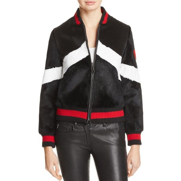 Jocelyn Rabbit Fur Baseball Jacket (472.645 CLP) ❤ liked on Polyvore featuring outerwear, jackets, baseball style jacket, rabbit jacket, stripe jacket, rabbit fur jacket and striped jacket