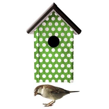 groen vogelhuis stippen sticker