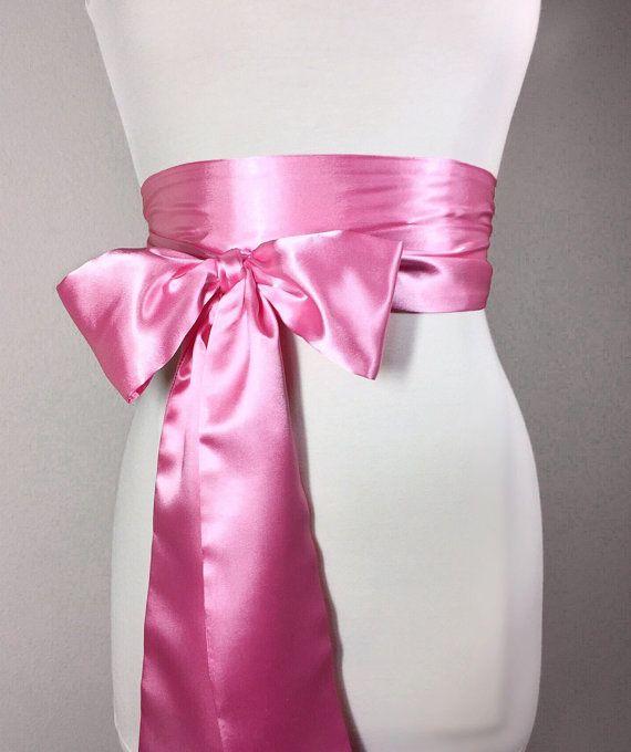 @isabellegeneva   Medium Pink Sash Pink Satin Sash Belt Obi Belt by SatinSwank