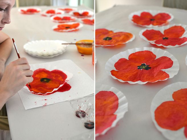 DIY poppies with watercolor + coffee filters