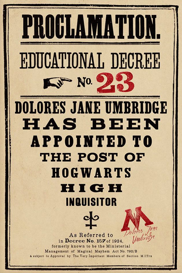 Educational Decree No. 23: Harry Potter print by Miraphora Mina and Eduardo Lima, the designers behind the memorabilia of the HP films.