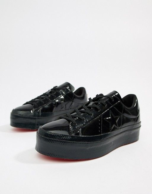 275d5bc2e885b4 Converse One Star platform ox black sneakers in 2019