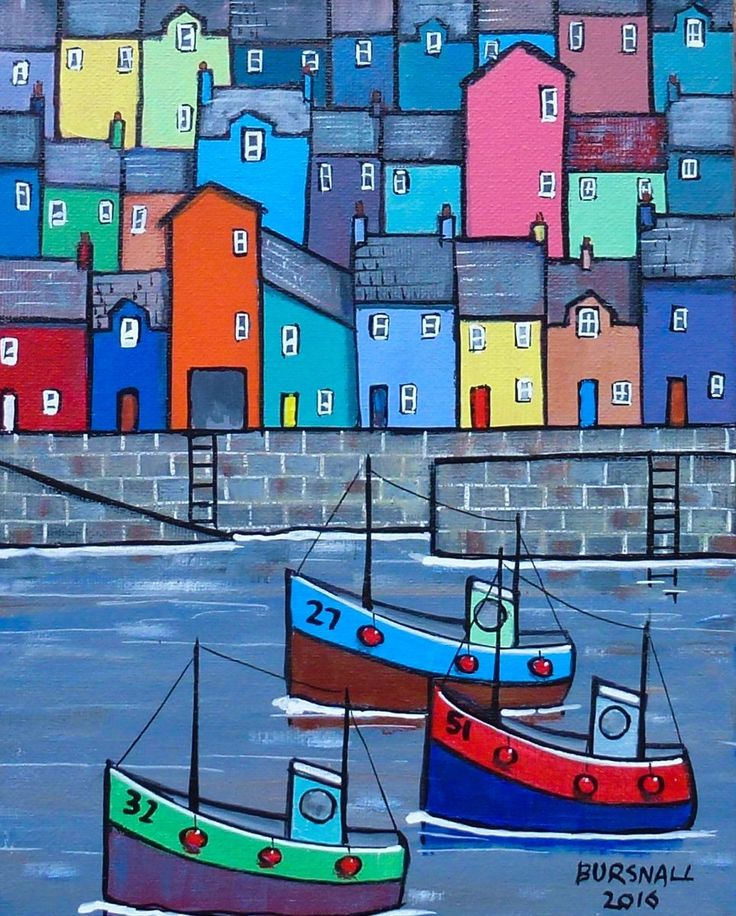 A fishing harbour with houses and boats. Painted on stretched canvas with the image around the edges. Ready to hang.