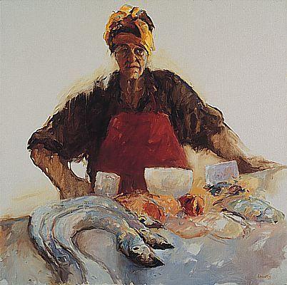 Dinie Boogaert, Portuguese Fishwoman, oil on canvas 1997, 100x100cm