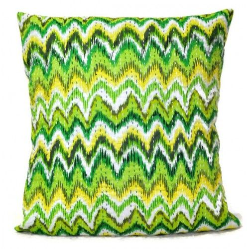 Lime Green Kantha Decorative Pillow Cover