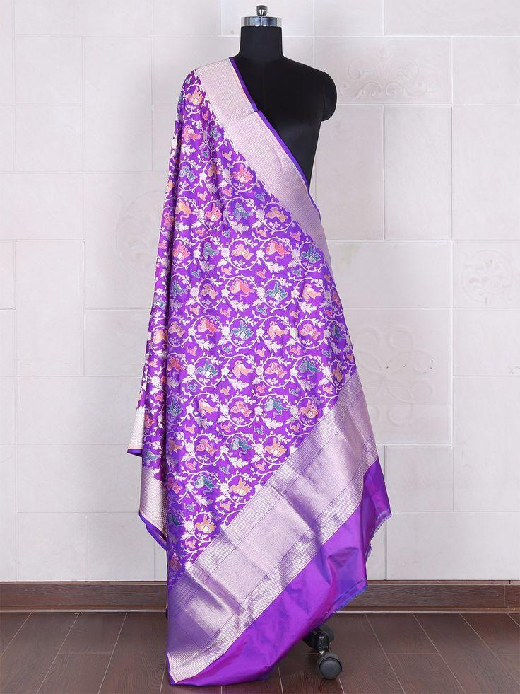 Purple Banarasi Silk Dupatta. View more collection at www.g3fashion.com For price or detail do whatsApp +91-9913433322 #kurti#dupattas#outfit#collections #stoles #dupattas #bagh #blockprint #women #womenfashion #fashionblogger #silk #indiantextiles #textileart #handicraft #handloom #handwoven #gaatha #feative #festiveseason #shopping #diwalitime #silkfabric #pattern #clasic #fashionable #handmadewithlove❤ #crafts #red #black #woodenblockprint