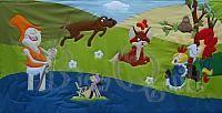 Ho-ho-horgász, kukori, vuk, frakk, vizipók patchwork gyermekfalvédő Wallquilt for kids